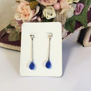Vintage Blue Crystal Dangle Earrings